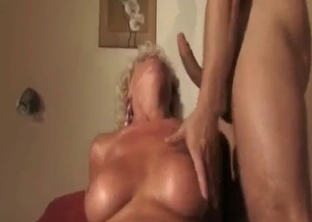 Skillful busty mom bangs with her sons