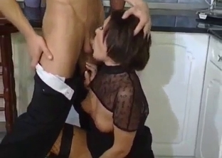 Cock-addicted aunt performs a first-class blowjob