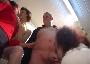 Sis with saggy tits gets banged in the kitchen