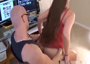 Long-haired sister jumps on her brother's dick