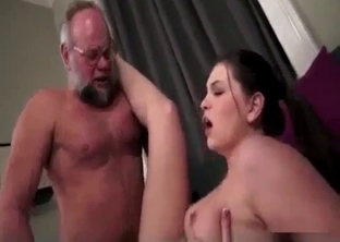 Big-boobed babe gets licked by her granddad