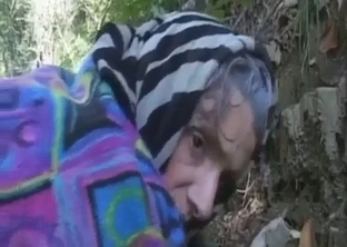 Grandma jerks and sucks my dick in the forest