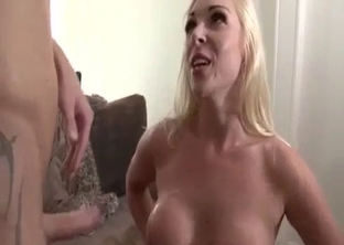 Brother cums on the big tits of his sister