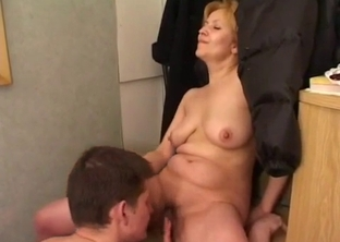 Son licks his mother's hairy vagina
